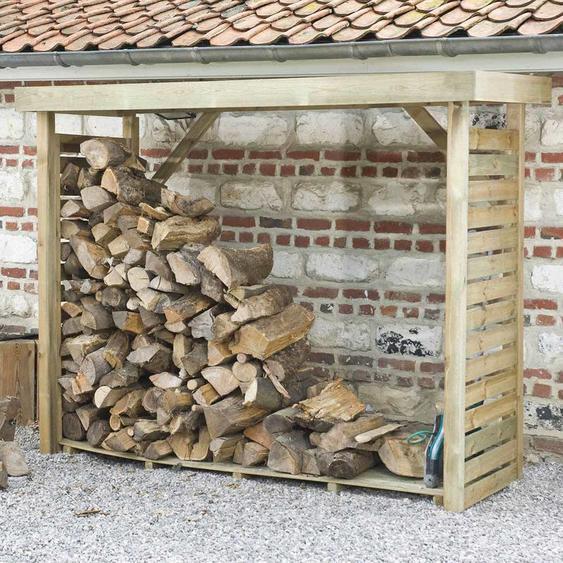 MADEIRA- abri de stockage de bois de chauffage- étagère pour bois de cheminée- bûcher en pin sylvestre autoclave- Abris de jardin toiture plate avec un revêtement en feutre bitumeux et plancher - porte 4 stères de bûches de 33cm- L238.5xl.89.5xH183cm