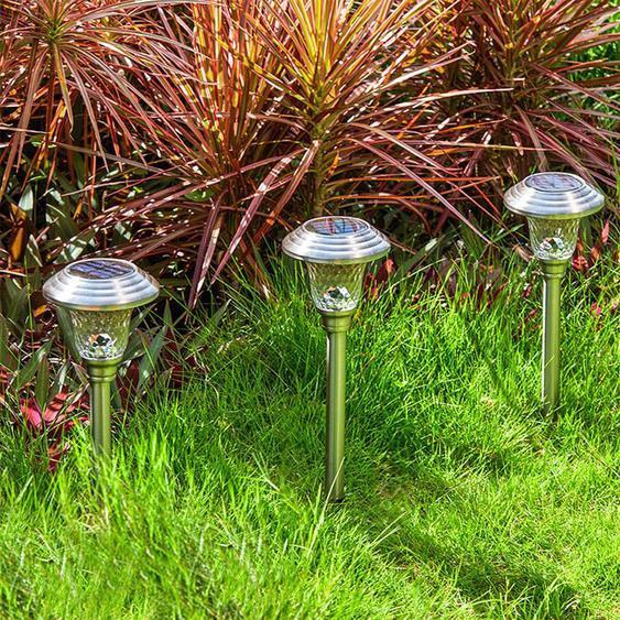 Jardin Extérieur En Verre De Jardin En Acier Inoxydable Yard Étanche Led Lampe Solaire 4pc - Madkanao 1377