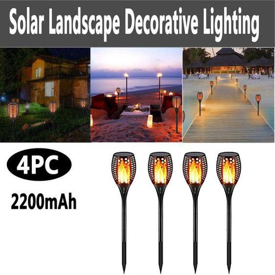 Lampe Solaire Extérieure De Paysage, Lampe De Paysage Extérieure Imperméable De Lampe De Flamme - Madkanao 1319