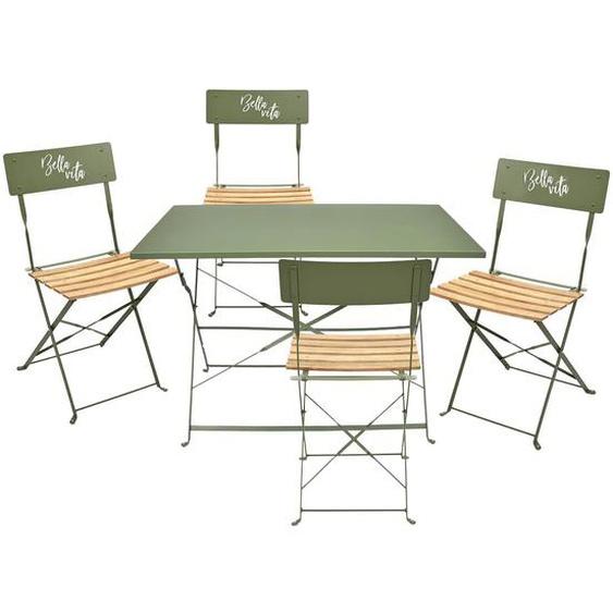 MALAM - Ensemble Table Repas Pliante + 4 Chaises Pliantes Kaki