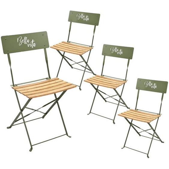 MALAM - Lot de 4 Chaises Pliantes Kaki Motif Bella Vita