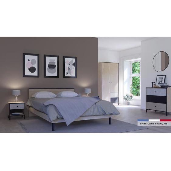 GAMI Lit adulte industriel - Made in France - Décor chêne noisette et noir - l 160 x L 200 cm - MANILLE