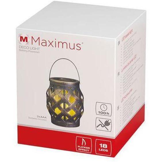 MAXIMUS - Panier à éclairage led effet flamme 14x14x24cm