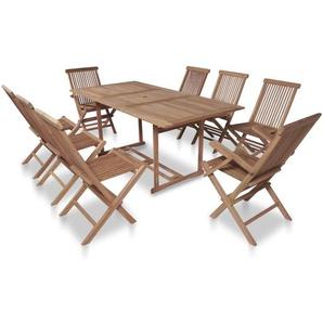 Meuble à dîner de jardin 9 pcs et chaises pliables Teck solide