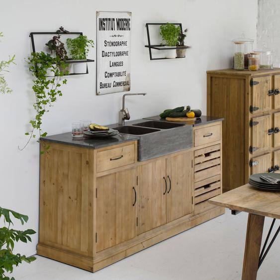 Meuble de cuisine bois et pierre avec évier 180 cm