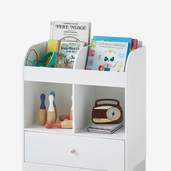 Meuble de rangement 2 cases + étagère-bibliothèque LIGNE NOUGATINE blanc