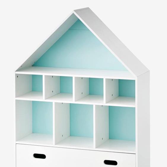 Meuble de rangement 9 cases Maison blanc/bleu