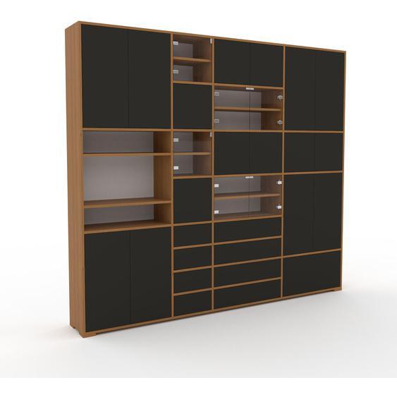 Meuble de rangements - Graphite, design, pour documents, avec porte Graphite et tiroir Graphite - 265 x 235 x 35 cm
