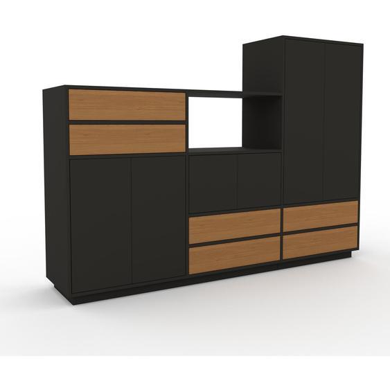 Meuble de rangements - Graphite, design, pour documents, avec porte Graphite et tiroir Chêne - 226 x 162 x 47 cm