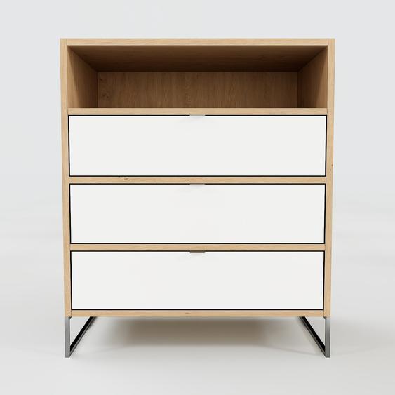 Meuble de rangements - Blanc, contemporain, pour documents, avec tiroir Blanc - 77 x 91 x 47 cm, personnalisable