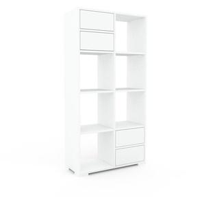 Meuble de rangements - blanc, contemporain, pour documents, avec tiroir blanc - 79 x 158 x 35 cm, personnalisable