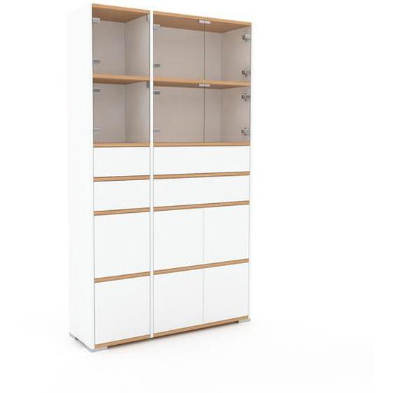 Meuble de rangements - Blanc, design, pour documents, avec porte Blanc et tiroir Blanc - 116 x 196 x 35 cm