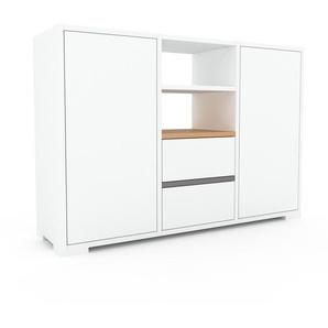 Meuble de rangements - Blanc, design, pour documents, avec porte Blanc et tiroir Blanc - 118 x 81 x 35 cm