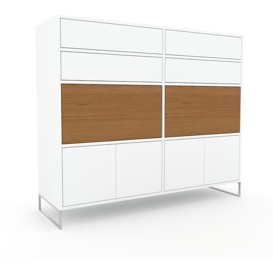 Meuble de rangements - Blanc, design, pour documents, avec porte Blanc et tiroir Blanc - 152 x 130 x 47 cm
