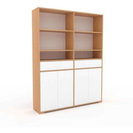 Meuble de rangements - Blanc, design, pour documents, avec porte Blanc et tiroir Blanc - 152 x 196 x 35 cm