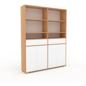 Meuble de rangements - Hêtre, design, pour documents, avec porte Blanc et tiroir Blanc - 152 x 196 x 35 cm