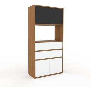 Meuble de rangements - Chêne, design, pour documents, avec porte Blanc et tiroir Blanc - 77 x 157 x 35 cm