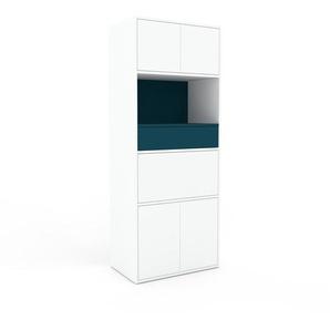 Meuble de rangements - Blanc, design, pour documents, avec porte Blanc et tiroir Bleu - 77 x 195 x 47 cm