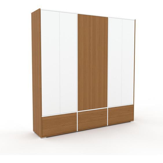 Meuble de rangements - Blanc, design, pour documents, avec porte Blanc et tiroir Chêne - 226 x 235 x 47 cm