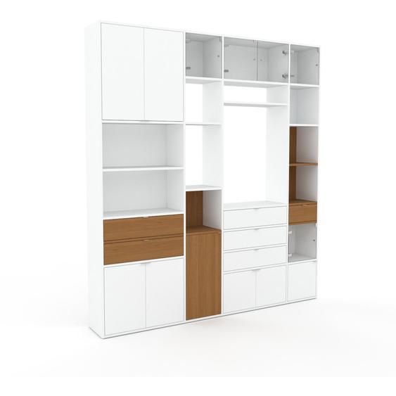 Meuble de rangements - Blanc, design, pour documents, avec porte Blanc et tiroir Chêne - 229 x 253 x 35 cm