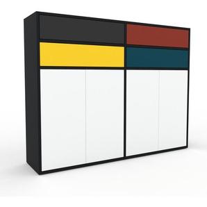 Meuble de rangements - Noir, design, pour documents, avec porte Blanc et tiroir Anthracite - 152 x 118 x 35 cm