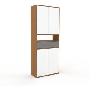 Meuble de rangements - Chêne, design, pour documents, avec porte Blanc et tiroir Gris - 77 x 195 x 35 cm