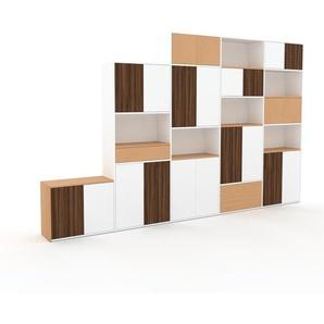 Meuble de rangements - Blanc, design, pour documents, avec porte Blanc et tiroir Hêtre - 375 x 233 x 35 cm