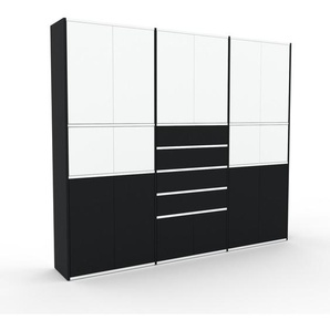 Meuble de rangements - Noir, design, pour documents, avec porte Blanc et tiroir Noir - 226 x 195 x 35 cm