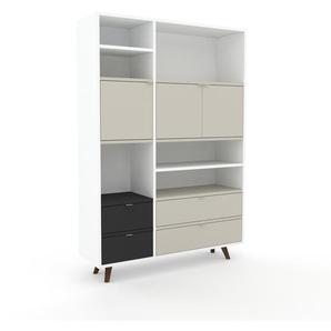 Meuble de rangements - Blanc, design, pour documents, avec porte Gris sable et tiroir Anthracite - 116 x 168 x 35 cm