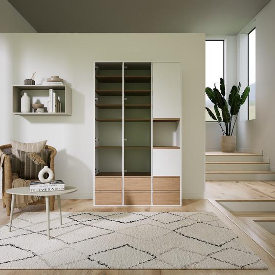 Meuble de rangements - Blanc, design, pour documents, avec porte Verre clair transparent et tiroir Chêne - 118 x 195 x 47 cm