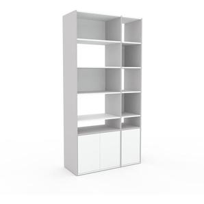 Meuble de rangements - Blanc, moderne, pour documents, avec porte Blanc - 116 x 233 x 47 cm, personnalisable