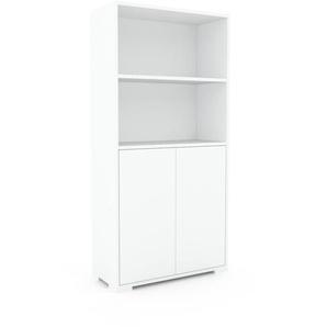 Meuble de rangements - Blanc, moderne, pour documents, avec porte Blanc - 77 x 158 x 35 cm, personnalisable