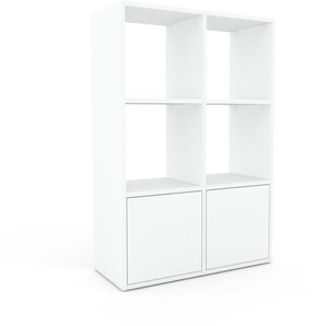 Meuble de rangements - Blanc, moderne, pour documents, avec porte Blanc - 79 x 118 x 35 cm, personnalisable