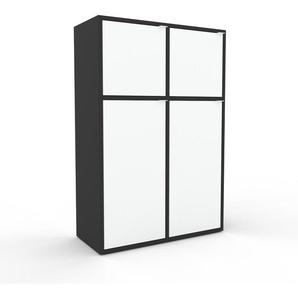 Meuble de rangements - Anthracite, moderne, pour documents, avec porte Blanc - 79 x 118 x 35 cm, personnalisable