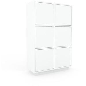 Meuble de rangements - Blanc, moderne, pour documents, avec porte Blanc - 79 x 124 x 35 cm, personnalisable