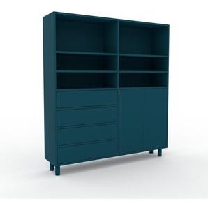 Meuble de rangements - Bleu, design, pour documents, avec porte Bleu et tiroir Bleu - 152 x 168 x 35 cm