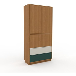 Meuble de rangements - Chêne, design, pour documents, avec porte Chêne et tiroir Vert sapin - 77 x 162 x 35 cm