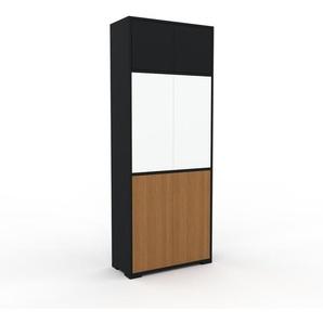 Meuble de rangements - Noir, moderne, pour documents, avec porte Chêne - 77 x 196 x 35 cm, personnalisable