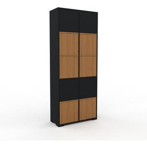 Meuble de rangements - Noir, moderne, pour documents, avec porte Chêne - 79 x 196 x 35 cm, personnalisable
