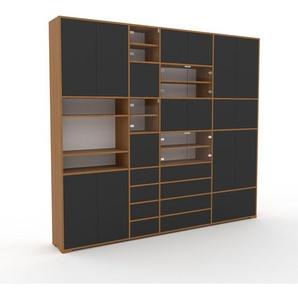 Meuble de rangements - Anthracite, design, pour documents, avec porte Anthracite et tiroir Anthracite - 265 x 235 x 35 cm
