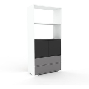 Meuble de rangements - blanc, design, pour documents, avec porte anthracite et tiroir gris - 77 x 158 x 35 cm