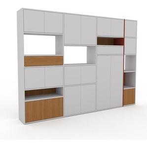 Meuble de rangements - Gris clair, design, pour documents, avec porte Gris clair et tiroir Chêne - 265 x 195 x 35 cm