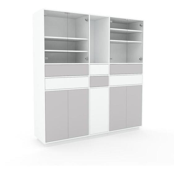 Meuble de rangements - Gris clair, design, pour documents, avec porte Gris clair et tiroir Gris clair - 190 x 200 x 47 cm