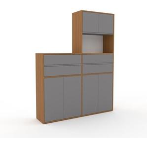 Meuble de rangements - Chêne, design, pour documents, avec porte Gris et tiroir Gris - 152 x 195 x 35 cm