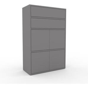 Meuble de rangements - Gris, design, pour documents, avec porte Gris et tiroir Gris - 77 x 118 x 35 cm