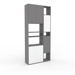Meuble de rangements - gris, moderne, pour documents, avec porte blanc - 116 x 253 x 35 cm, personnalisable