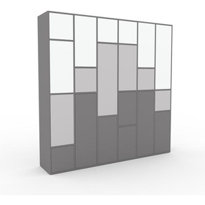 Meuble de rangements - Gris, moderne, pour documents, avec porte Gris - 233 x 234 x 47 cm, personnalisable