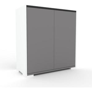 Meuble de rangements - Blanc, moderne, pour documents, avec porte Gris - 77 x 81 x 35 cm, personnalisable