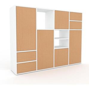 Meuble de rangements - Blanc, design, pour documents, avec porte Hêtre et tiroir Hêtre - 156 x 118 x 35 cm