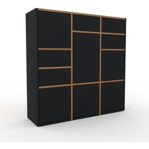 Meuble de rangements - Noir, design, pour documents, avec porte Noir et tiroir Noir - 118 x 118 x 35 cm